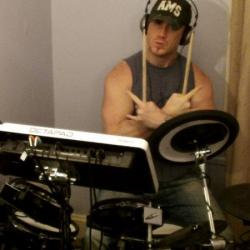 Drumming in the studio!