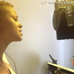 Hebe Jones recording Gospel Vocals
